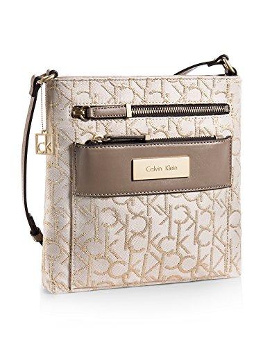 Calvin Klein Logo Jacquard Lurex City Flat Pack Crossbody Bag