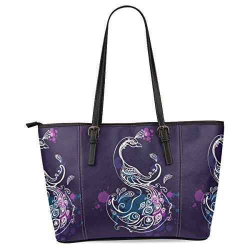 Ewa Peacock Women's Leather Tote Shoulder Bags Handbags