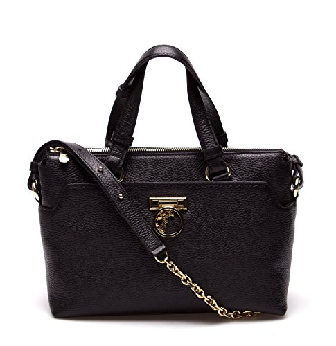 Versace Collection Women Leather Crossbody Satchel Handbag Black
