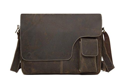 ROCKCOW 13 Inches Vintage Genuine Leather Messenger Bag Crossbody Bag Shoulder Bag