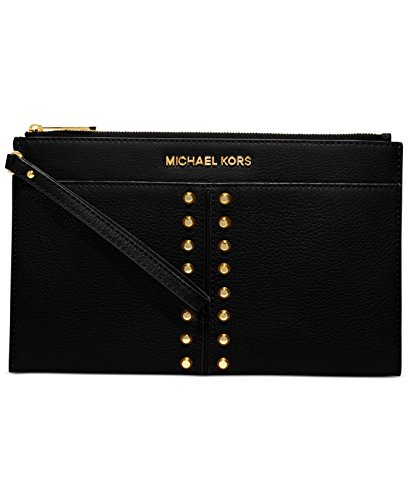 Michael Kors Astor Chain Black Leather Gold Studded Wrist Zip Clutch Bag