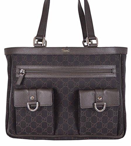 Gucci Women's Brown Denim Abbey Pockets GG Guccissima Tote Handbag