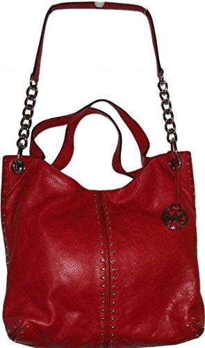 3f0b21ddb200 Michael Kors Red Leather Uptown Astor Studded Large Satchel Tote Handbag