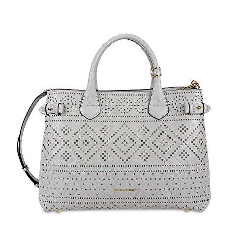 Burberry Medium Banner Laser-Cut Leather Handbag – Light Grey