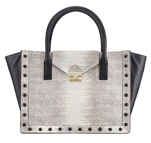 Loeffler Randall Women's Expandable Top Handle Bag, Cream/Black