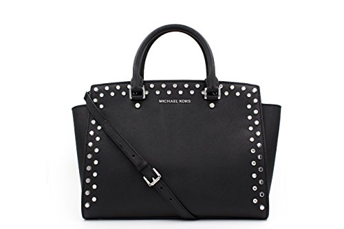 MICHAEL Michael Kors Selma Studded & Rhinestone Black Saffiano Leather Large Satchel