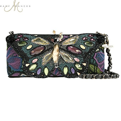 Mary Frances Dreamweaver Butterfly Black Purple Beaded Handbag New