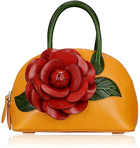 Pijushi Designer Floral Collection Inspired Ladies Handmade Leather Top Handle Handbags 8827