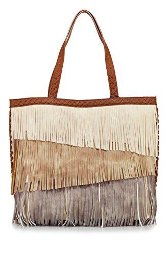 STEVEN Kenzie Fringe Tote Shoulder Bag, Cream/Multi