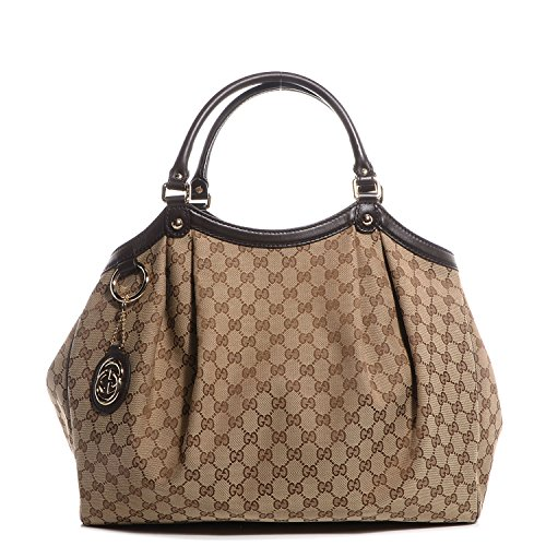 Gucci 364840 Sukey Handbag Large Brown Original GG Monogram Canvas Leather Guccissima Purse Bag
