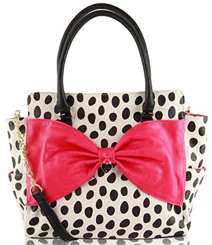 Betsey Johnson Lattice Bow Satchel Shoulder Bag