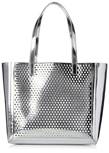 Loeffler Randall Women's Double Handle Open Tote, Silver