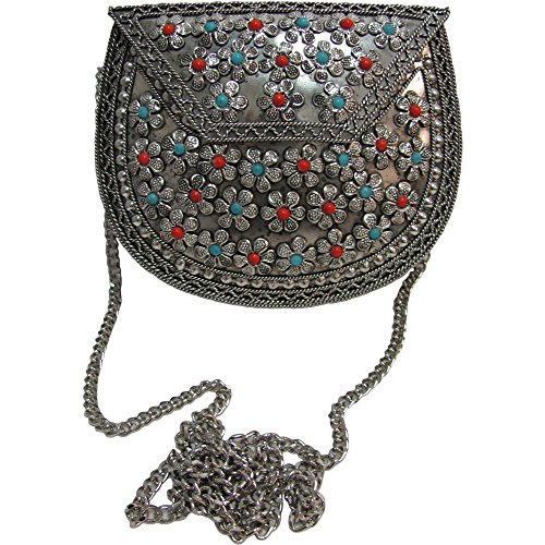 Indian Vintage Style Silver-Toned Metal Coral Turquoise, Agate Novelty Bag Purse