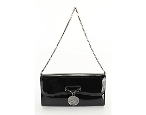 Christian Louboutin Womens Riviera Clutch Handbag – Black Leather