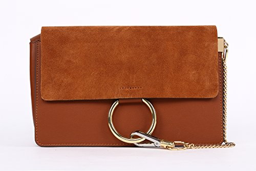 GEMATE Women's Genuine Leather Chain Nubuck Flap Shoulder Bag
