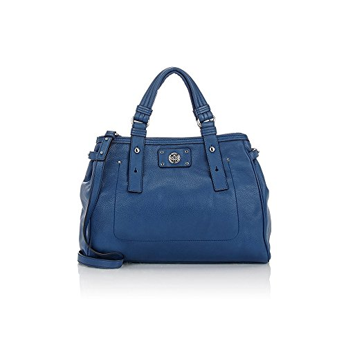 Marc Jacobs Totally Turnlock Lucy Deep Blue Leather Tote Bag 15 X 12 X 7 Large
