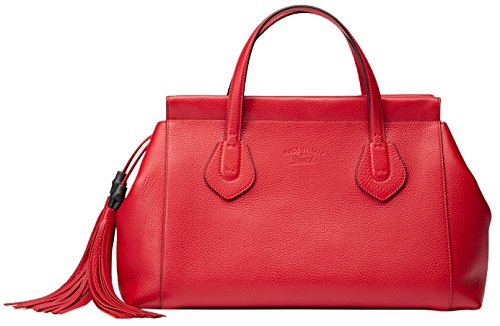 Gucci Red Leather Lady Tassel Large Tote Bag