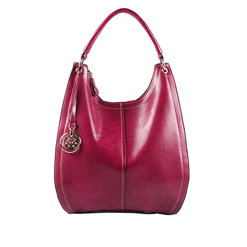 Fineplus Vintage Oil Wax Split Cow Leather Handbags for Womens Rose Red