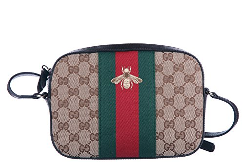 Gucci women's shoulder bag original gg supreme bee beige