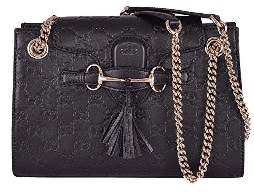 Gucci Women's Small Black GG Guccissima Leather Emily Crossbody Handbag