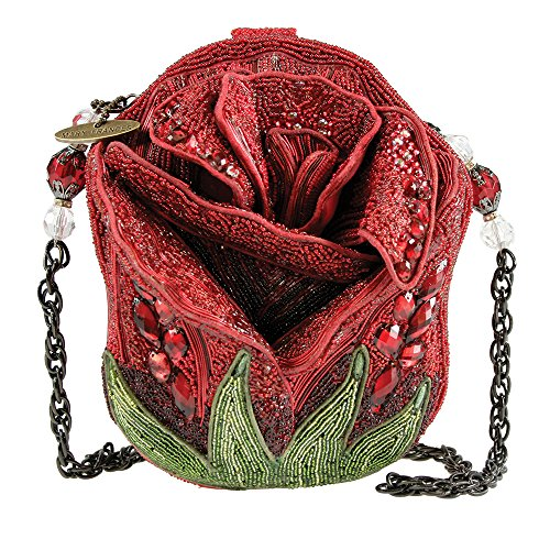 Mary Frances Rose Bud Red Flower Handbag New