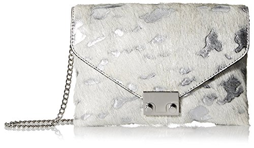 Loeffler Randall Women's Jr. Signature Lock Clutch, Cream/Silver