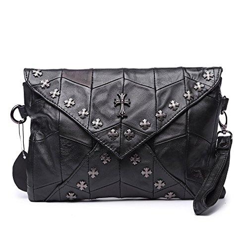 Jonon Women's Genuine Leather Sheepskin Skull Studded Ladies Clutch Bag Handbag Crossbody Bag
