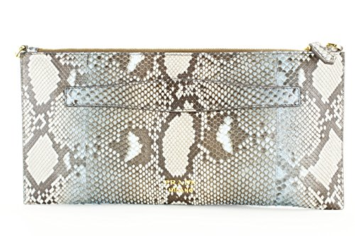 Prada Womens Pitone Clutch Handbag Animal Print Brown Leather