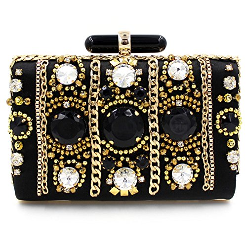 Ellis Women Handmade Crystal Sequin Rhinestone Evening Cocktail Party Bridal Clutch Handbag Purse Black