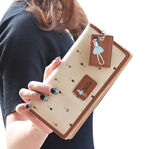 Vovotrade(TM) Hot Sale!! Elegant Lady Women Long Purse Clutch Wallet Zip Bag Card Holder (Beige)