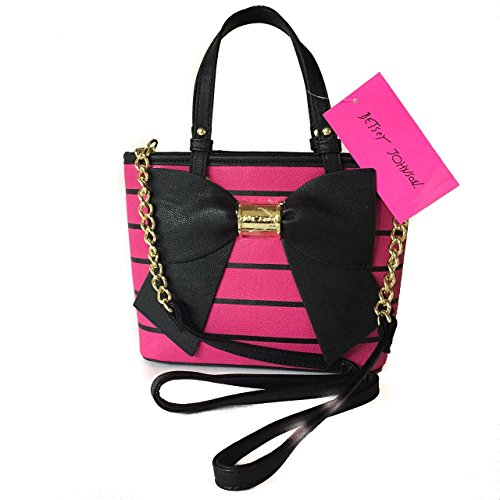 Betsey Johnson Mini Satchel Fuchsia Pink with Black Bow