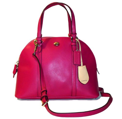 Coach Peyton Cora Magenta Leather Domed Satchel – Style 25671