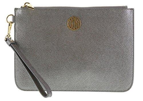 DKNY Bryant Park Saffiano Wristlet Purse Style: 764521507 in Gunmetal (021)