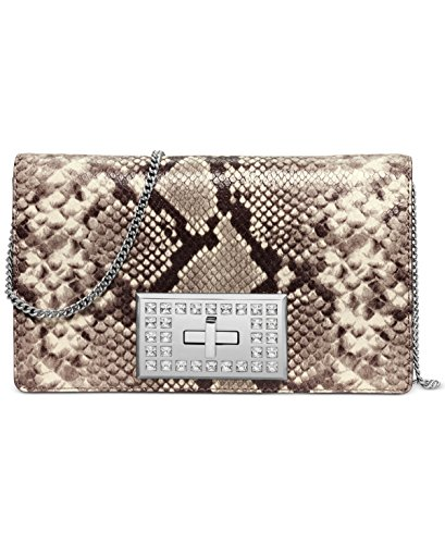 MICHAEL Michael Kors Womens Ellie Medium Shoulder Flap Bag (Natural Python Embossed)