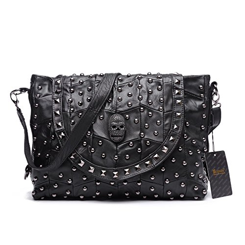 Jonon Women's Genuine Leather Sheepskin Studded Skull Shoulder Bag Handbag Crossbody Bag
