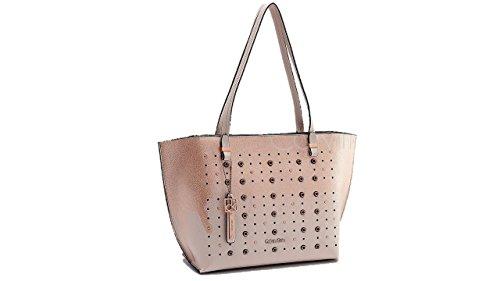 Calvin Klein Womens Hailey Metallic Ombre Grommet Shopper Tote Bag Handbag