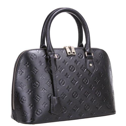 Fineplus New Designer Full Grain Leather Zip Shoulder Handbags For Women Black Small
