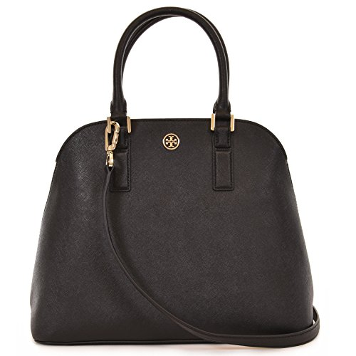 Tory Burch Robinson Open Dome Satchel Saffiano Leather – Black