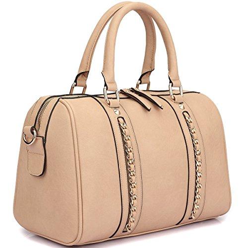 Dasein Fashion Gold Tone Medium Barrel Satchel Handbag with Wallet Set