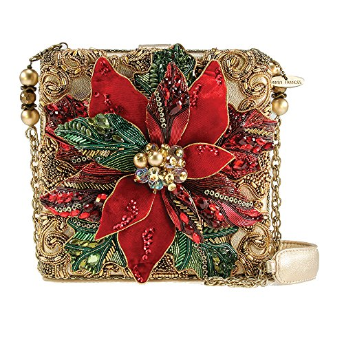 Mary Frances Believe Red Poinsettia Flower Christmas Holiday Bag New