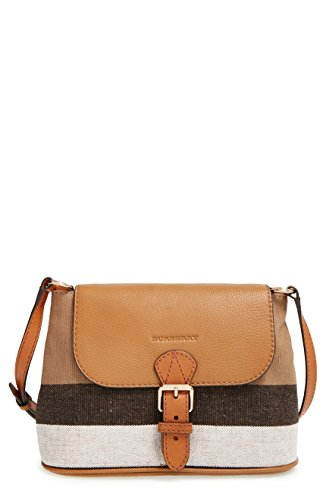 Burberry Brit Small Gowan Canvas House Check Leather Crossbody Bag Saddle Brown