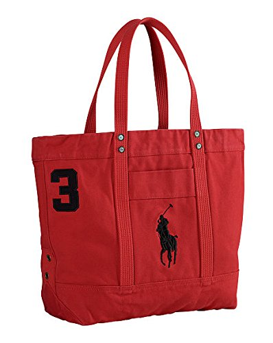 Polo Ralph Lauren Cotton Canvas Big Pony Zip Tote Bag (Parkave Red)