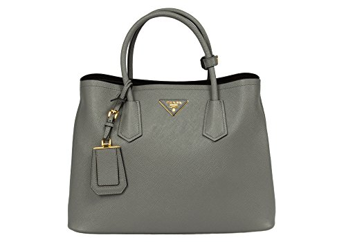 Prada Women's Double Handle BN2775 F0K44 Leather Tote, Grey, Medium