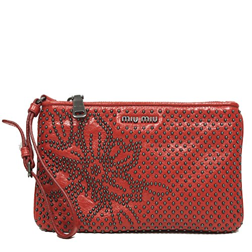 Miu Miu Borch Cellulare Studded Zip Top Red Leather Pouch Wristlet Bag 8051760414851