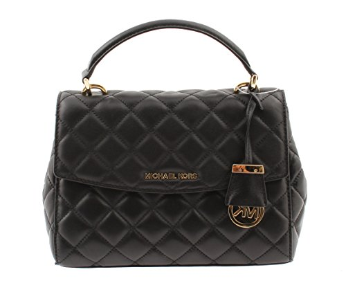 MICHAEL Michael Kors Ava Small Top Handle Quilted Satchel, Black