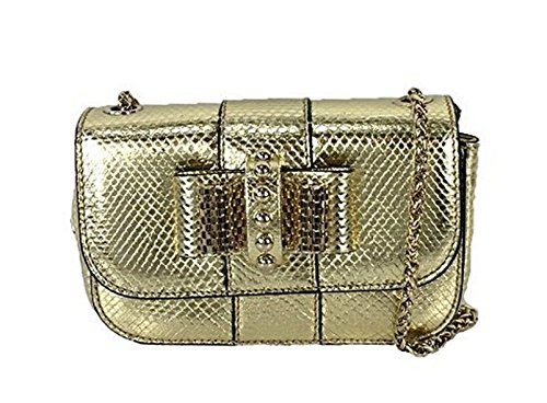 Christian Louboutin Sweety Charity Watersnake Mini Crossbody Bag, Gold