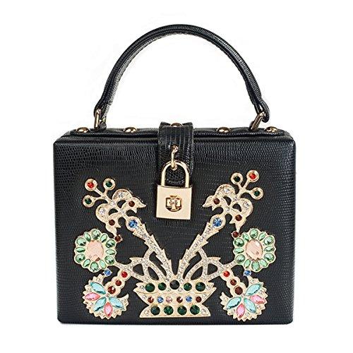 SharPlus Luxury Crystal Rhinestone Evening Box Clutch Black Party Purse Bag for Women