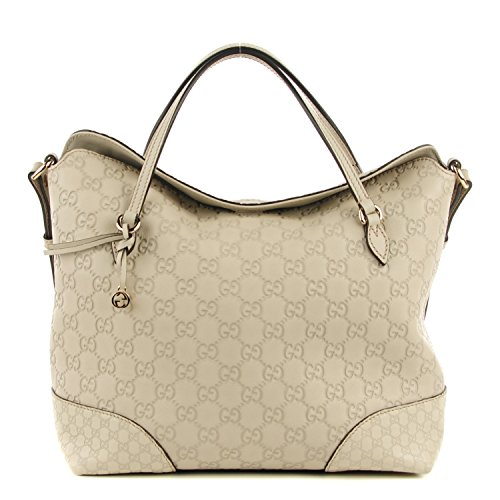 Gucci Bree Large Double-Handle Leather Tote Mystic White Bag