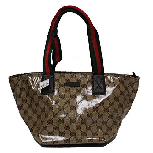 Gucci Crystal GG Logo Duffel Bag Tote Handbag 374433, Brown