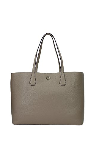 Tory Burch Perry Leather Tote Bag, French Gray/Purple Iris